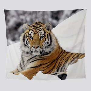 Tiger In Snow Wall Tapestry