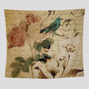 teal bird vintage roses botanical ar Wall Tapestry