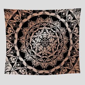 Rose Gold Black Floral Mandala Wall Tapestry