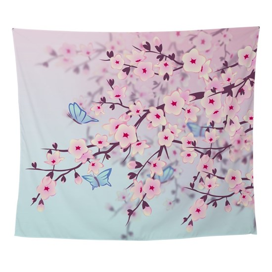 Cherry Blossom With Erfly Wall Tapestry