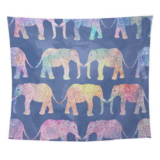 Boho hand drawn paisley tribal elephants pattern i