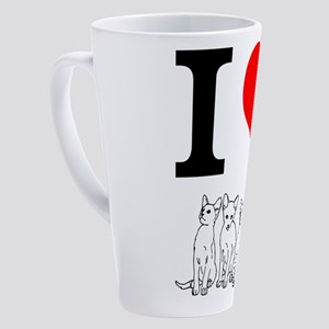 I love cats 17 oz Latte Mug