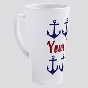 Personalizable Red and Blue Anchors 17 oz Latte Mu