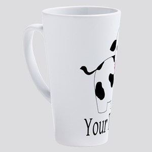 Personalizable Black and White Cow 17 oz Latte Mug