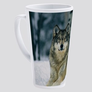Wolf In The Snow 17 oz Latte Mug