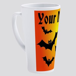 Personalized Halloween Bats 17 oz Latte Mug
