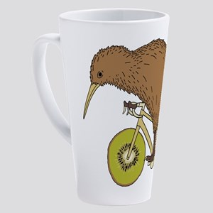 Kiwi Riding Bike With Kiwi Wheels  17 oz Latte Mug