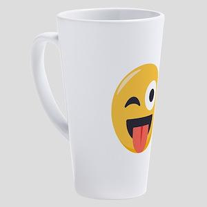 Winky Tongue Emoji 17 oz Latte Mug