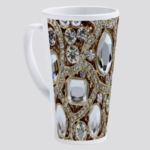girly bohemian gold rhinestone 17 oz Latte Mug
