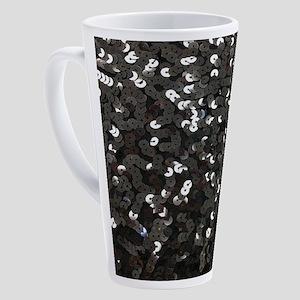 chic glitter black Sequins 17 oz Latte Mug