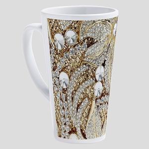 floral champagne gold rhinestone 17 oz Latte Mug