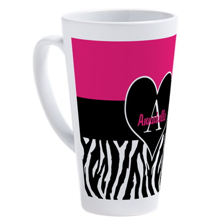Pink Zebra Heart Monogram Personalized 17 oz Latte