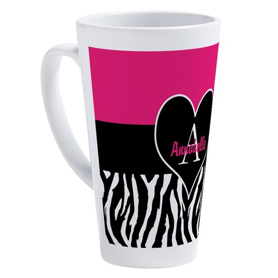Pink Zebra Heart Monogram Personalized