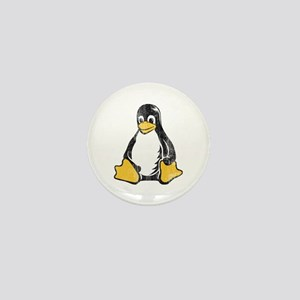 linux tux penguin Mini Button