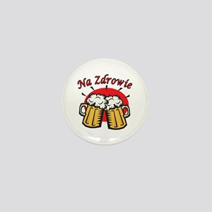 Na Zdrowie Toast With Beer Mugs Mini Button
