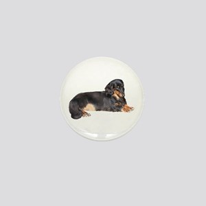 Black Long Hair Dachshund Mini Button