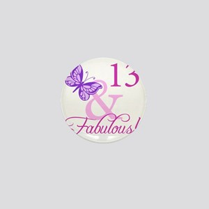 Fabulous 13th Birthday For Girls Mini Button