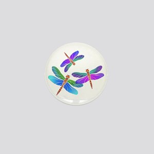 Dive Bombing Iridescent Dragonflies Mini Button