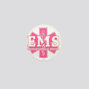 star of life - pink EMS word Mini Button