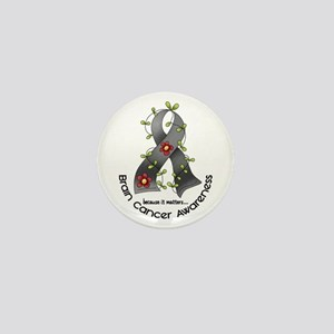 Flower Ribbon BRAIN CANCER Mini Button
