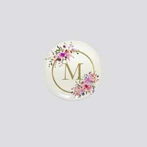 Floral and Gold Monogram Mini Button