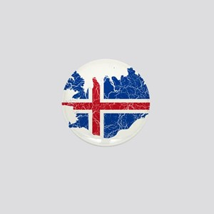Iceland Flag And Map Mini Button
