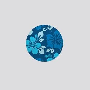 Shades of blue Hawaiian hibiscus Mini Button