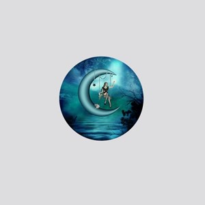 Fairy on a moon over the sea Mini Button