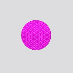 Fuchsia Pink Floral Doodle Pattern Mini Button