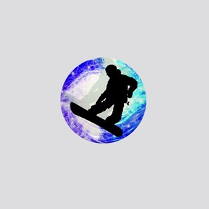 Snowboarder in Whiteout Mini Button