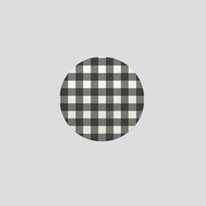 Black White Buffalo Plaid Mini Button