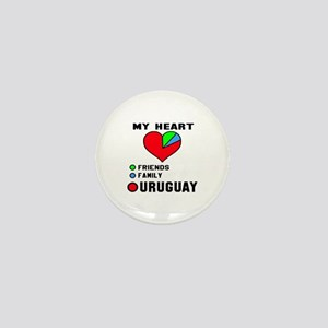 My Heart Friends, Family and Uruguay Mini Button