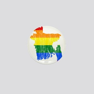 Bangladesh Rainbow Pride Flag And Map Mini Button