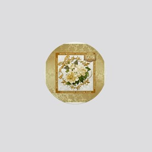 Floral Gold 50th Wedding Anniversary Mini Button
