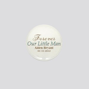 Blue Brown Personalizable Little Man Mini Button