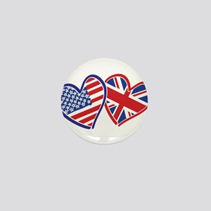 USA and UK Flag Hearts Mini Button