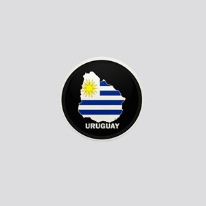 Flag Map of Uruguay Mini Button
