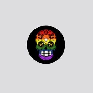 Gay Pride Rainbow Flag Sugar Skull with Roses Mini