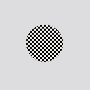 Black White Checkered Mini Button