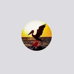 Pelican On Ocean At Sunset Mini Button