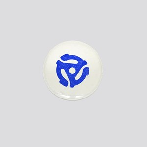 Blue Distressed 45 RPM Adapter Mini Button