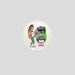 Hey Man- Hippie & Van Mini Button