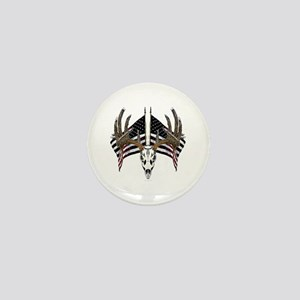 Whitetail skull on old glory Mini Button