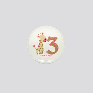 3rd Birthday Pink Giraffe Personalized Mini Button