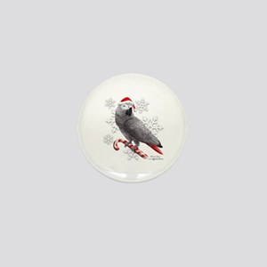 Christmas African Grey Parrot Mini Button