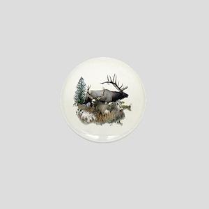 Buck deer bull elk Mini Button