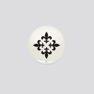 Black and White Fleur de Lis Design Mini Button