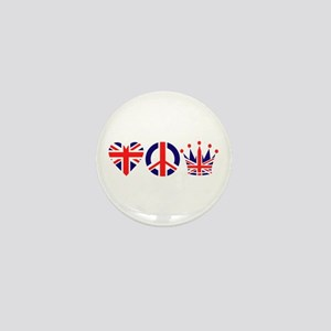 Heart, Peace, Crown - Britiain! Mini Button
