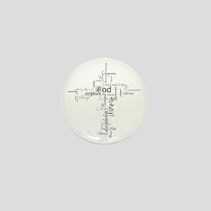 Christian cross word collage Mini Button