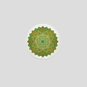Green Gold Heart Chakra Mandala Yoga S Mini Button